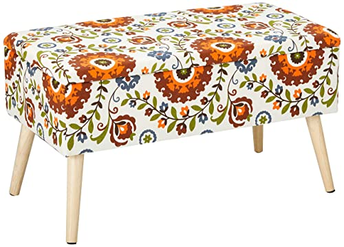 Otto Ben Mid Century Ottoman with EASY LIFT Top, Upholstered Shoe Ottomans Seats for Entryway and Bedroom, Retro Floral