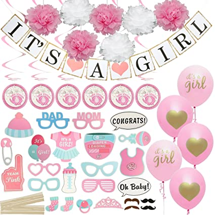 Baby Shower Decorations for Girl , Includes Matching \u0027Its A Girl\u0027 Banner \u0026  Balloons, Cute Photo Booth Props, Pink \u0026 White Flower Decor, and More!