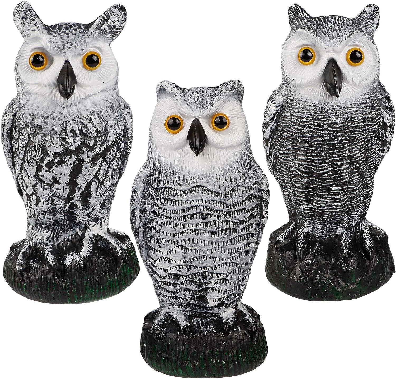 Hausse 3 Pack Bird Scarecrow Fake Horned Owl Decoy, Plastic Owl Bird Deterrents, Nature Enemy Pest Repellent for Outdoor Garden Yard, White & Black