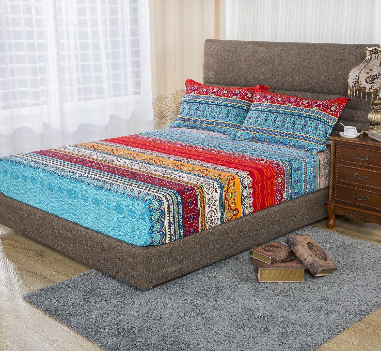 YOUSA Boho Style Fitted Sheet Exotic Bohemian Bed Sheet Twin Size (Twin/1Pc Fitted Sheet,01)