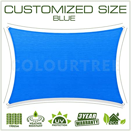 ColourTree Customized Size 6 x 6 Blue Sun Shade Sail Canopy UV Block Rectangle – Commercial Standard Heavy Duty – 190 GSM – 3 Years Warranty
