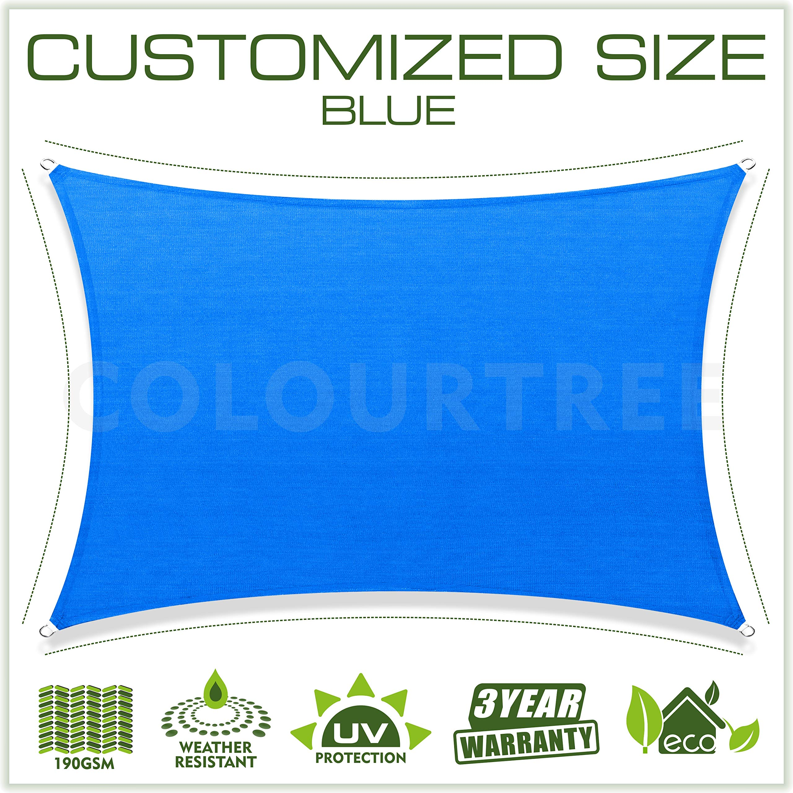 ColourTree Customized Size 15' x 20' Blue Sun Shade Sail Canopy UV Block Rectangle - Commercial Standard Heavy Duty - 190 GSM - 3 Years Warranty
