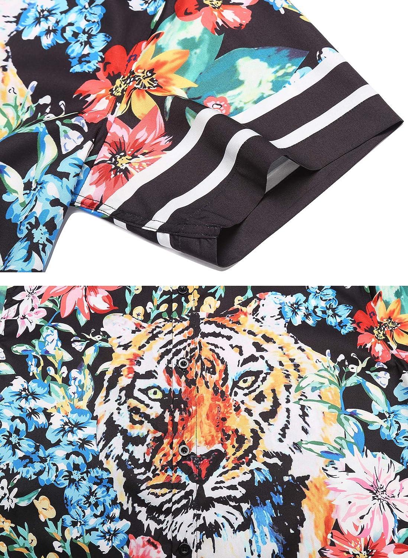 URRU Mens Casual Tiger Floral Printed Hawaiian Shirts Short Sleeve Button Down Aloha Summer Tops S-XXL