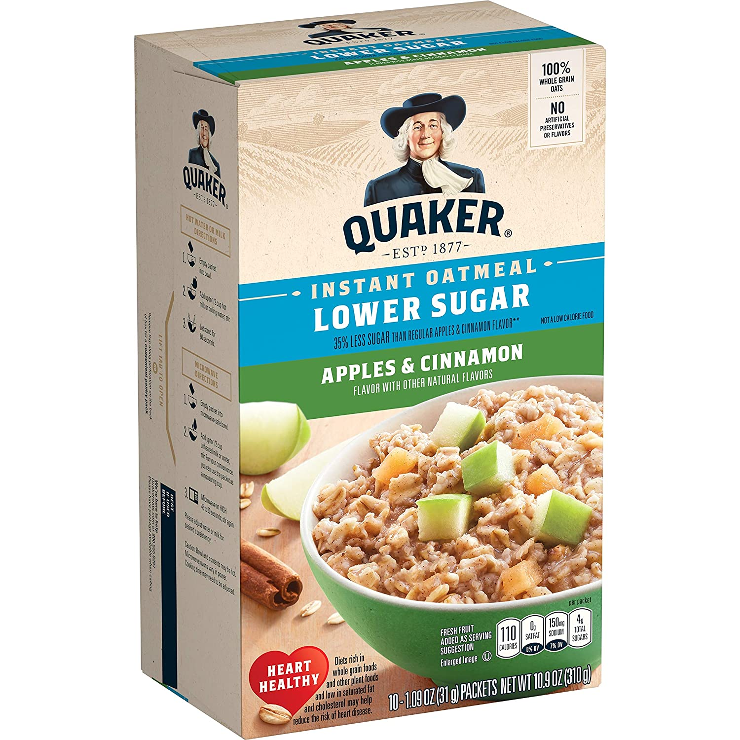 Quaker Instant Oatmeal, Lower Sugar, Apples & Cinnamon, Breakfast Cereal, 10 Packets Per Box