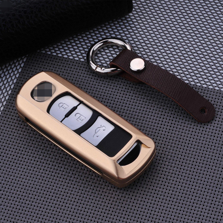 [ M。Jvisun ]車リモートキーレスエントリキーケースカバーFobスキンFits for Mazda 8 CX 4 Cx 5 CX 7 CX 9 Atenza Axela、プレミアム航空機グレードアルミメタル保護シェル本革キーチェーン付き M.JVISUN-KEYCASE-MZD B01M5CF252 ゴールド ゴールド