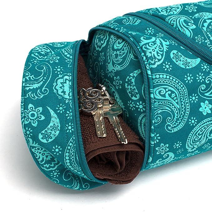 Paisley / petrol pour tapis de 80cm de largeur 5mm d'épaisseur et 200cm de longueur 60 cm Asana Maharaja Sac de yoga 100% coton sergé