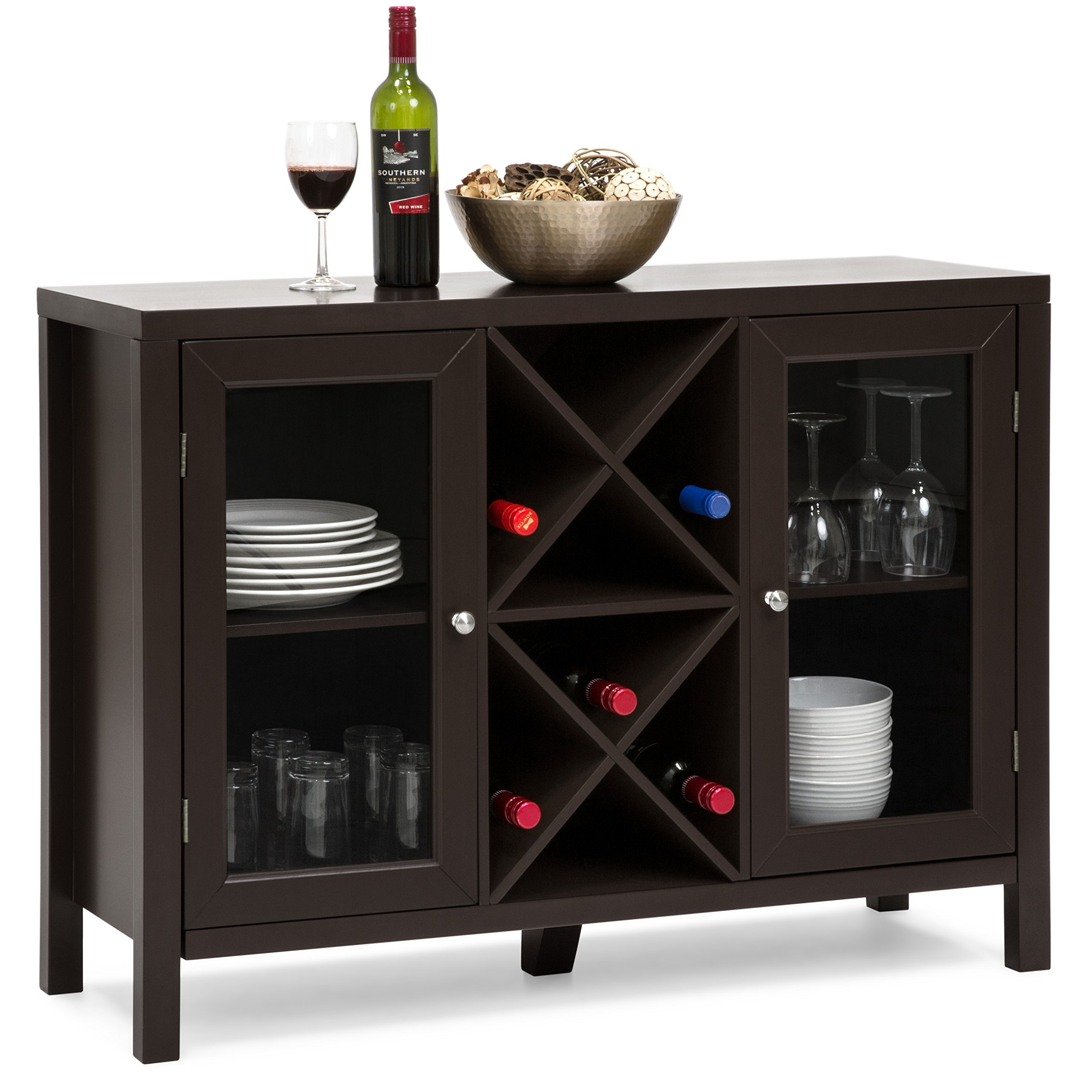 Best Choice Products Wooden Wine Rack Console Sideboard Table w/ Storage - Espresso