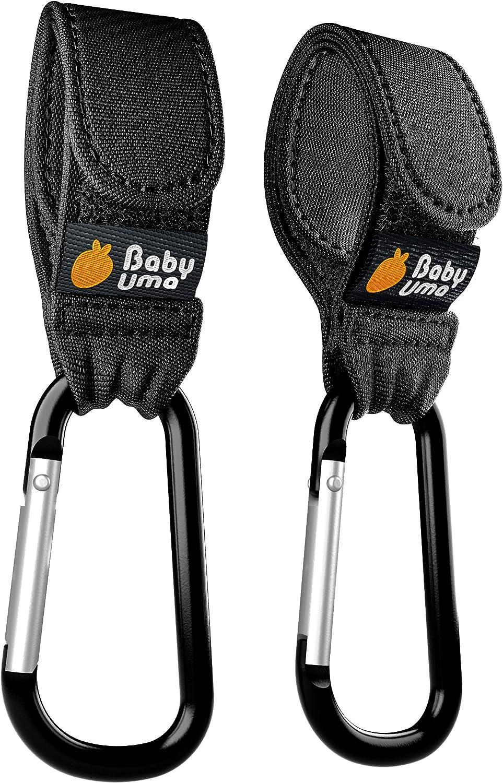 Ganchos Carrito Bebé, Baby Uma - Engancha tus bolsas de la compra, bolso o cambiador en el manillar de la Sillita, Cochecito o Silla de Ruedas. Pack de 2. Ajuste Universal (Negro)