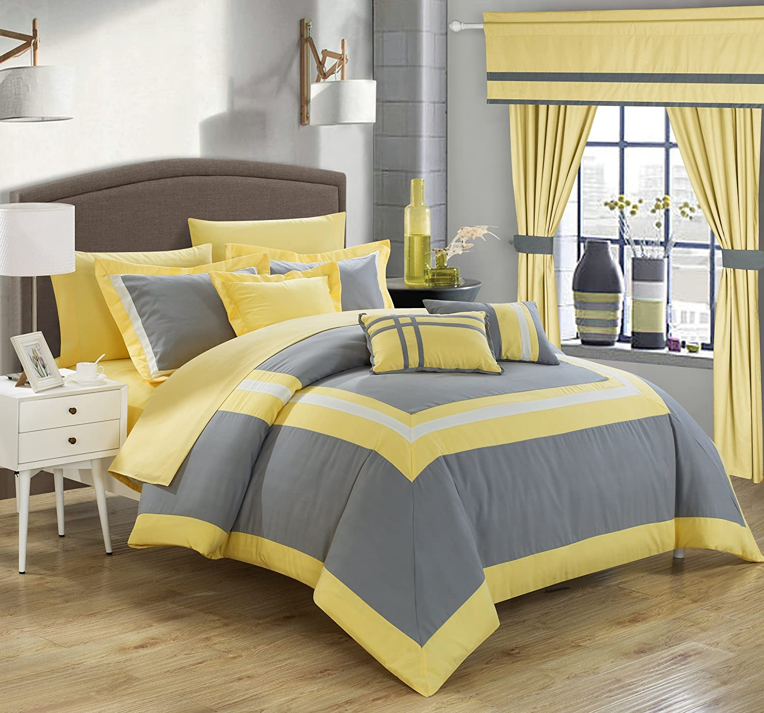 Chic Home Ritz 20 Piece Comforter Set Color Block Bed in a Bag with Sheets Curtains Queen Black CS4124-AN