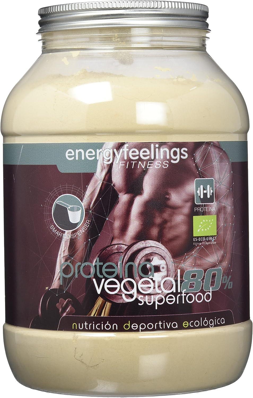 Energy Feelings Proteina Vegana 80% Premium - 1.5 Kg | rica en BCAA | ingredientes de máxima calidad | 100% ecológica
