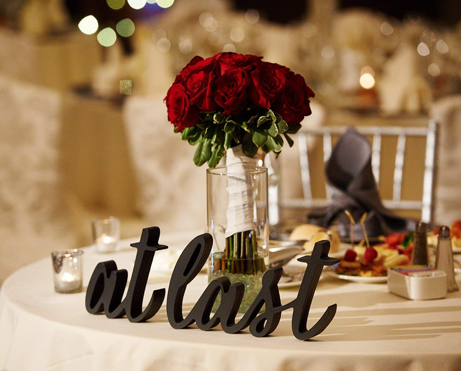 Amazon Com Wedding Sign At Last For Sweetheart Table Calligraphy Decor Freestanding Script Table Signs Reception Decor For Parties And Events Or Engagement Party Bridal Shower Handmade