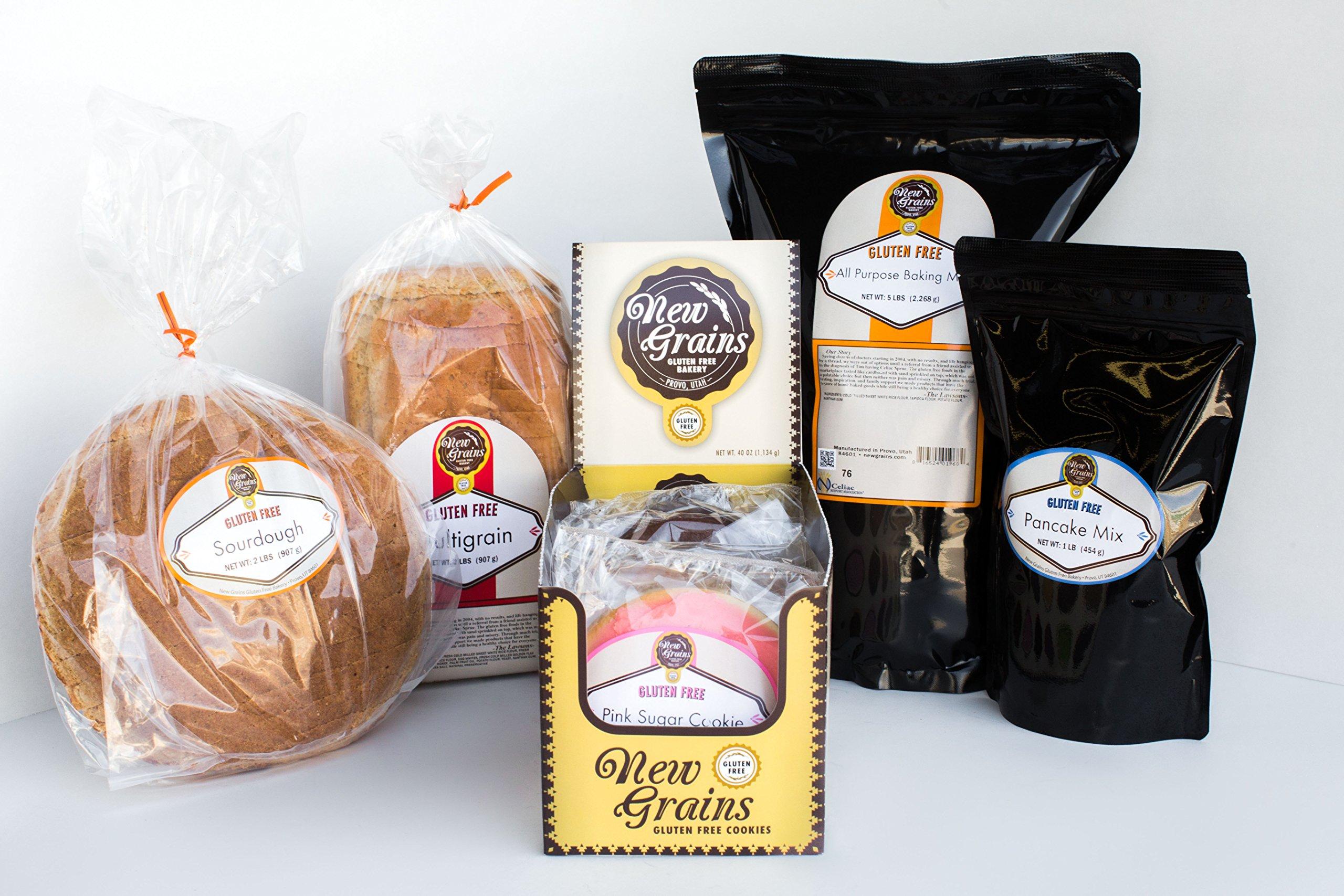 New Grains Gluten Free Large Sampler Pack - Care Package (Multigrain Bread, Sourdough Bread, 10 Cookies, Waffle/Pancake Mix, All-Purpose Flour)