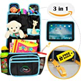 """Backseat Organizer for Kids 3 in 1, Car Organizer with Hooks for Hanging Under the Seat Headrest and Tablet Case 9.7"""", Black and Red or Blue"""