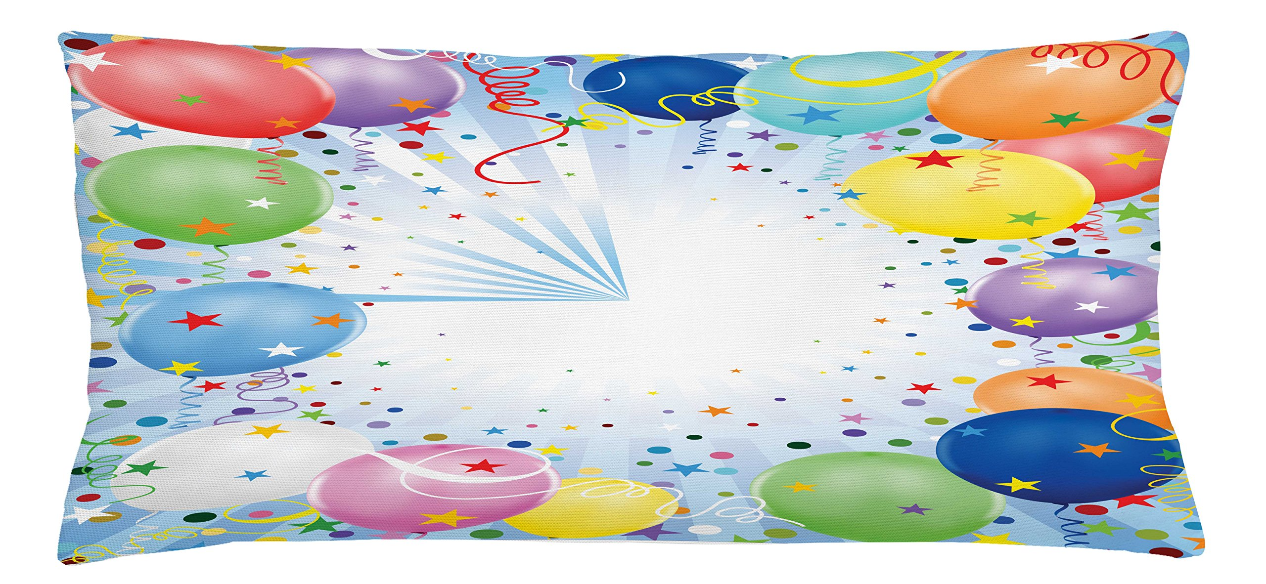 Ambesonne Kids Party Throw Pillow Cushion Cover, Happy Celebration Event Theme with Colorful Flying Balloons Confetti and Stars, Decorative Square Accent Pillow Case, 36 X 16 inches, Multicolor