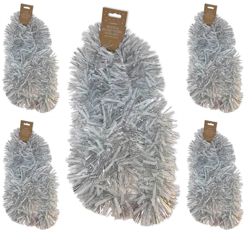 Aminori 10 Metre (5 x 2m) Festive Christmas Tinsel Garland (Ice Blue)