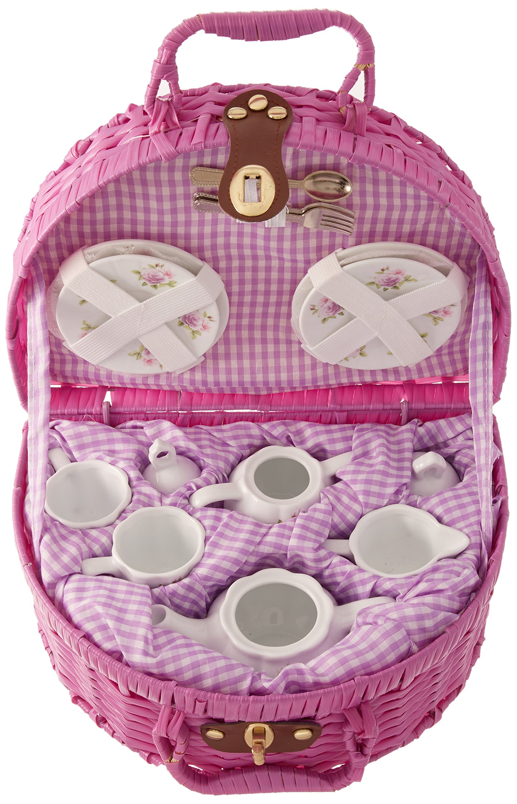 Delton Products Rose Pattern 1X Child Size Pretty Little Tea Set for Two in Basket, Rose