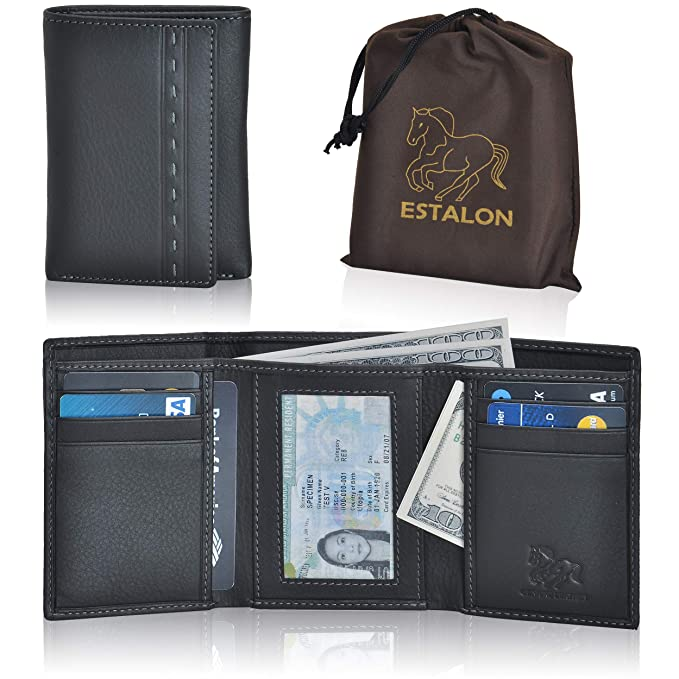 b26b8bb6166 RFID Leather Trifold Wallets for Men - Handmade Slim Mens Wallet 6 Credit  Card ID Window