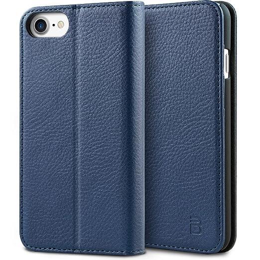 7 opinioni per Cover iPhone 7, BEZ® Premium di cuoio del raccoglitore per iPhone 7 Custodia