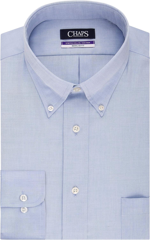 Chaps Men's Dress Shirts Regular Fit Stretch Buttondown Collar Solid