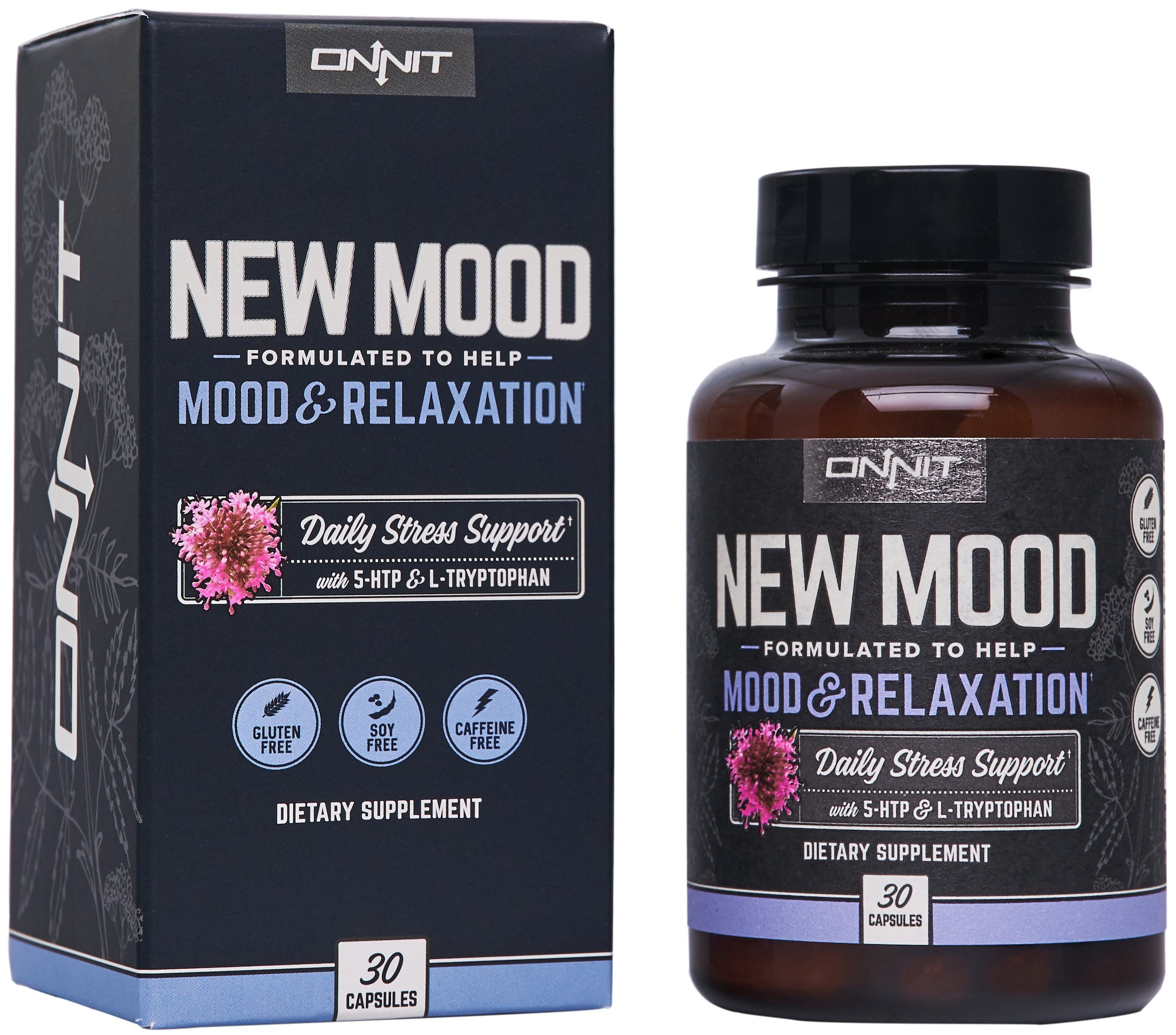 Onnit New MOOD: Daily Stress and Mood Support Supplement (30ct)   5-HTP, L-Tryptophan, and Vitamin B6   Optimize Serotonin Levels for better Mood, Outlook, and Sleep