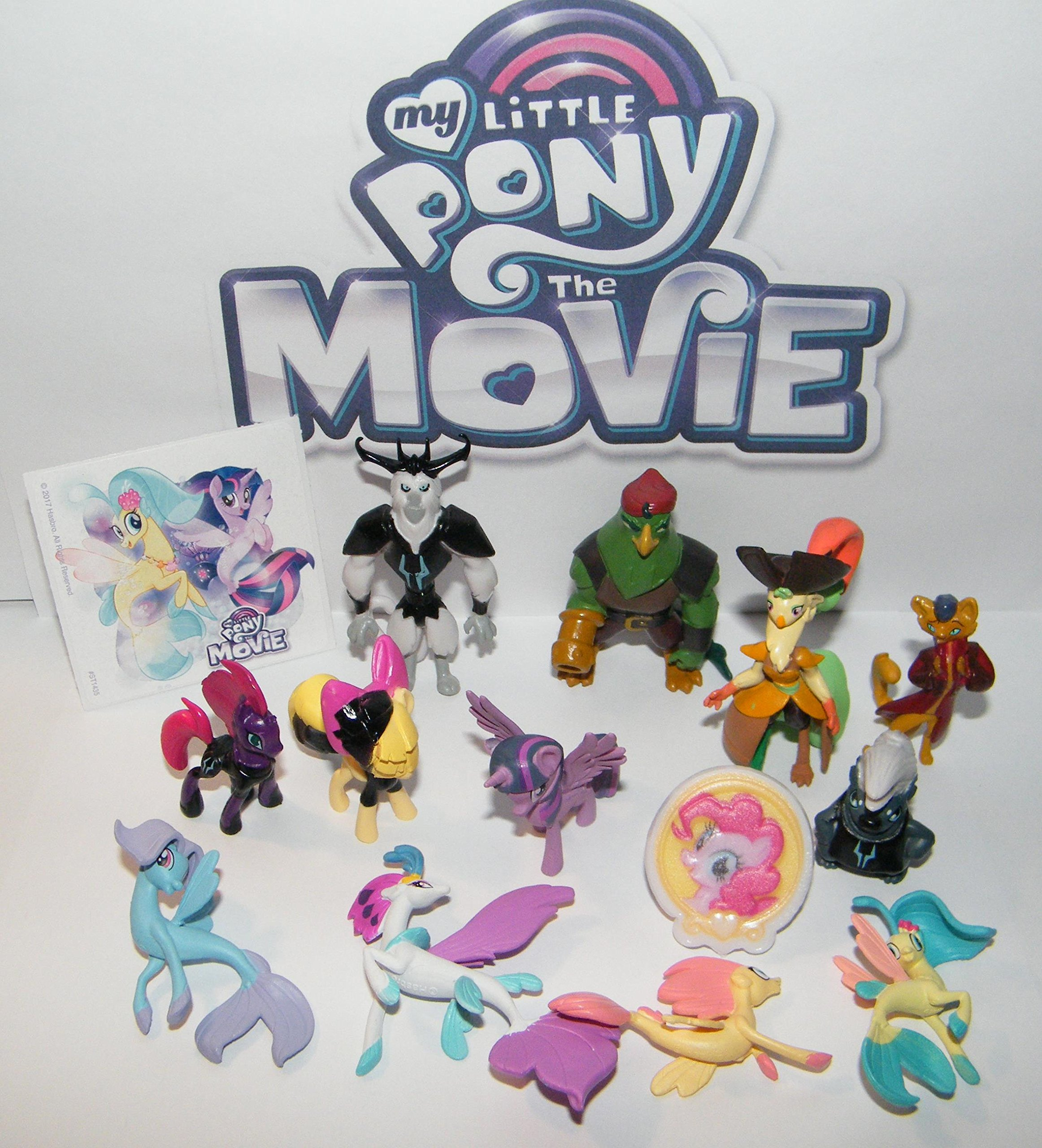 My Little Pony The Movie Deluxe Party Favors Goody Bag Fillers Set of 14 with Figures, Special Sticker and ToyRing Featuring Twilight, Pirates, Seaponies, a Cat and More!
