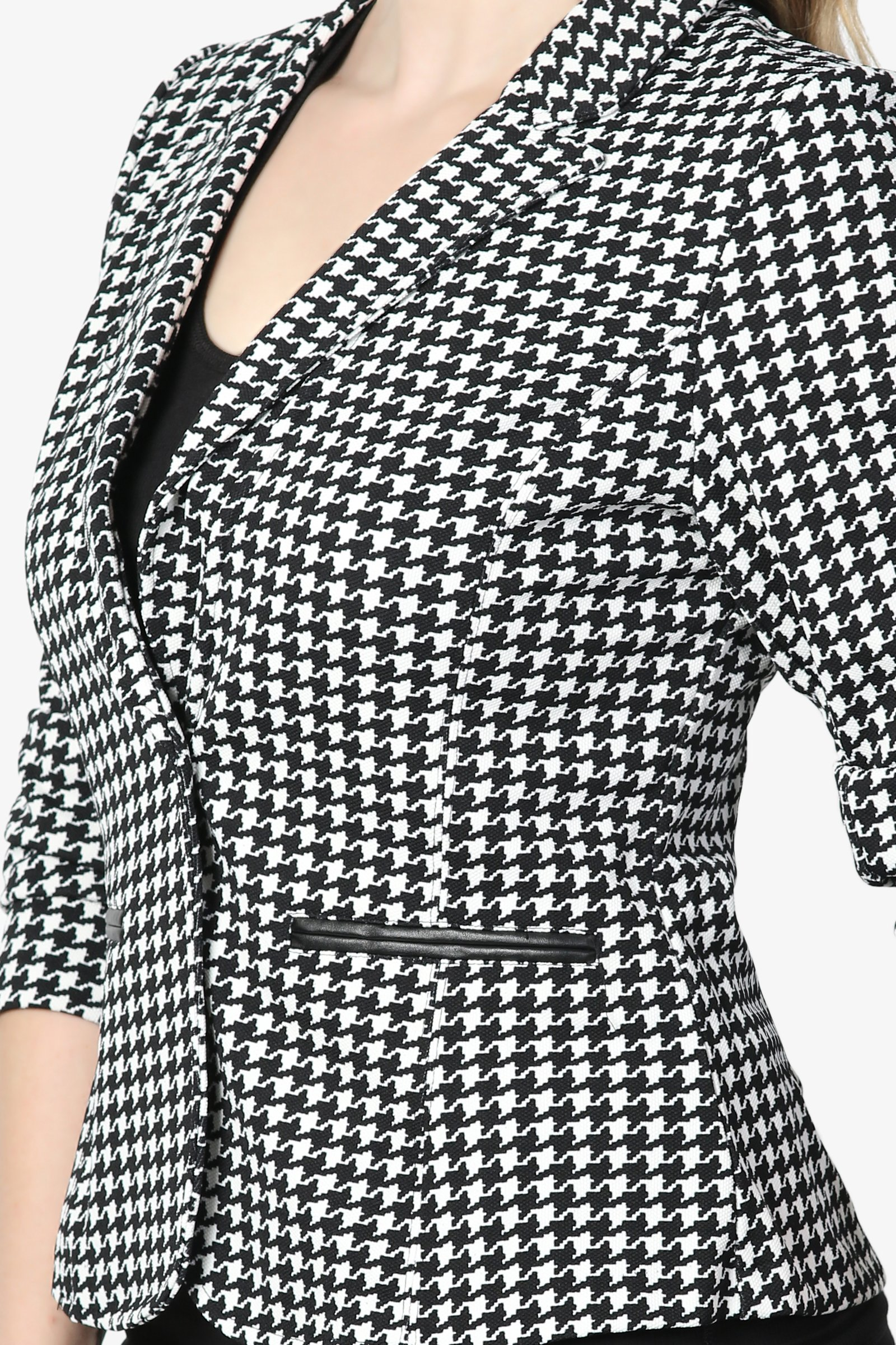 TheMogan Junior's Checker Faux Leather Pocket Slim Fit Blazer Jacket Black 1XL by TheMogan (Image #5)