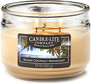 product image for Candle-Lite Everyday Scented Island Coconut Mahogany 3-Wick Jar Candle, 10 oz, Tan