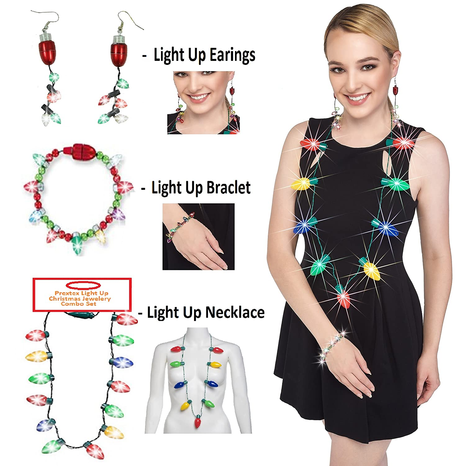 Prextex Christmas LED Light Up Set Flashing Necklace Bracelet and Earrings Adorable Christmas Stocking Stuffers Accessories Set