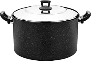 Hascevher Cast Aluminum Granite Nonstick Stockpot with Stainless Steel Lid, 21 Quart Graniteware Cookware for Bulk Cooking Including Pasta, Tamales, Stews, and More, granit21