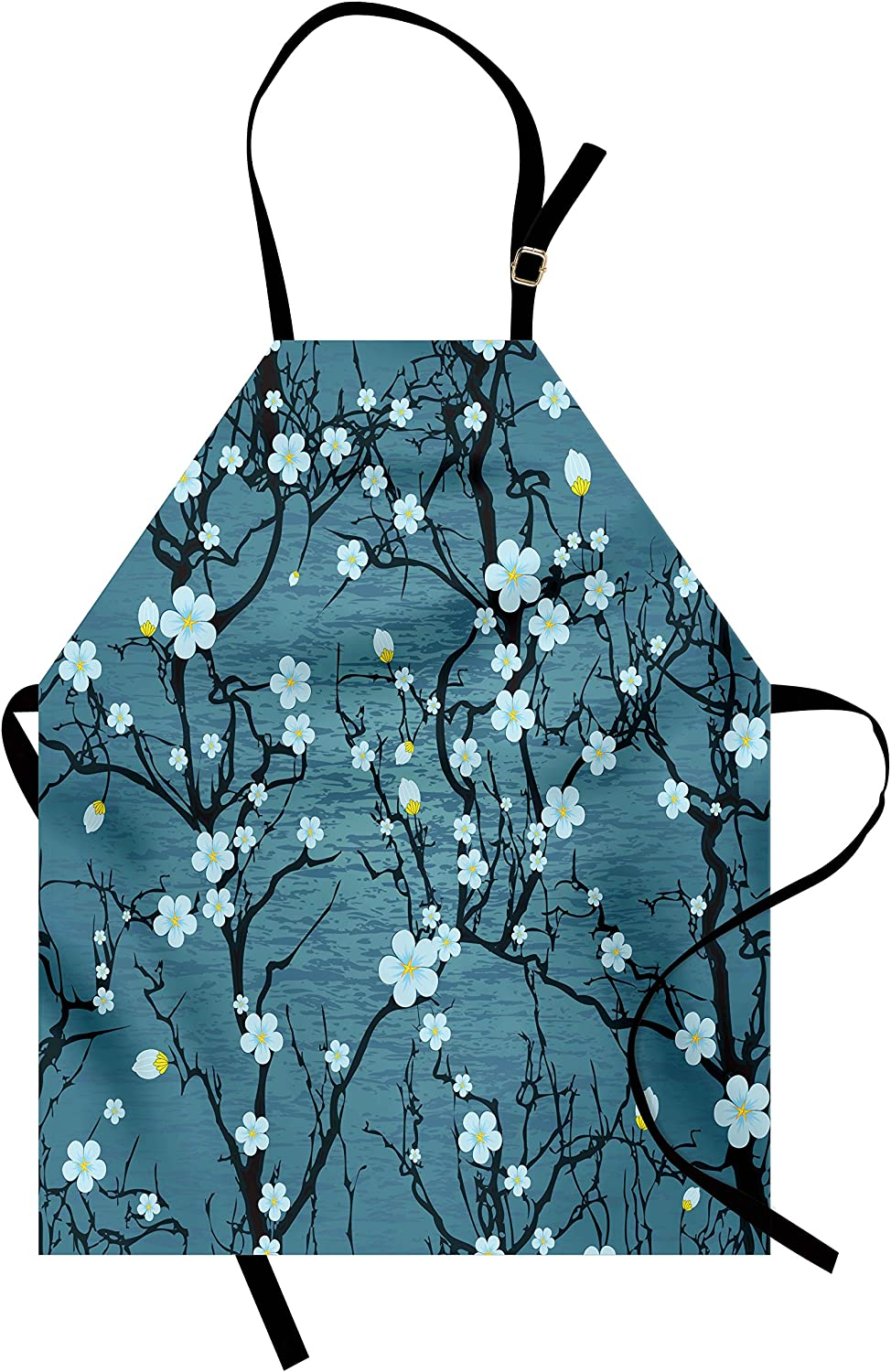 Lunarable Floral Apron, Sakura Tree Branches Pale Japanese Cherry Blossom Spring Form, Unisex Kitchen Bib with Adjustable Neck for Cooking Gardening, Adult Size, Blue
