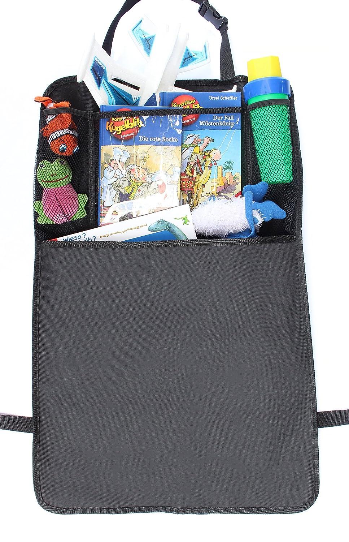Sitzlehnenschoner R/ückenlehnenschutz und Kinder-Autositzschutz schmutzabweisend wasserdicht extra langer R/ücksitzschoner mit iPad-//Tablet-Fach und gro/ße Tasche passend f/ür alle Autositze