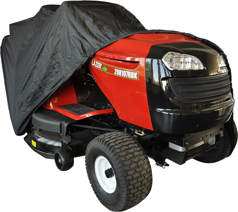 Greenstar 507859 - Funda protectora para montar cortadoras de césped tractor con descarga trasera en poliéster, negro,