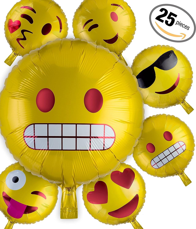 Kompanion 25 Globos de Helio Emoji para Fiesta – Globos Emoticono ...