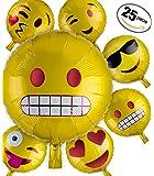 Emoji Party Ensemble De 25 Ballons 25 Pack Accessoires De FêteEvènement Soirée, Assortiment D'émoticônes Ballons A Hélium Smileys