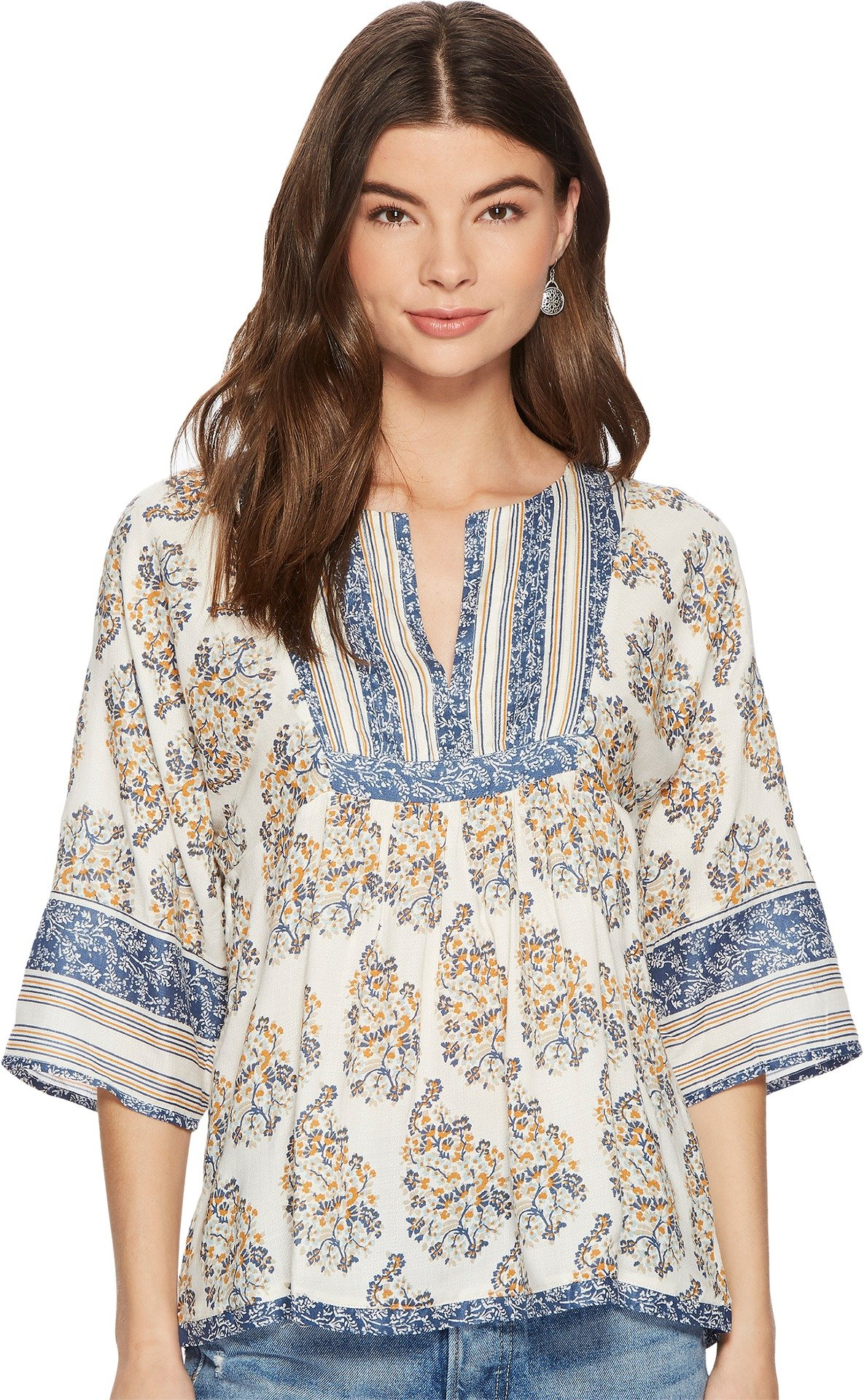 Lucky Brand Women's Mixed Print Peasant Top, Natiural Multi, S