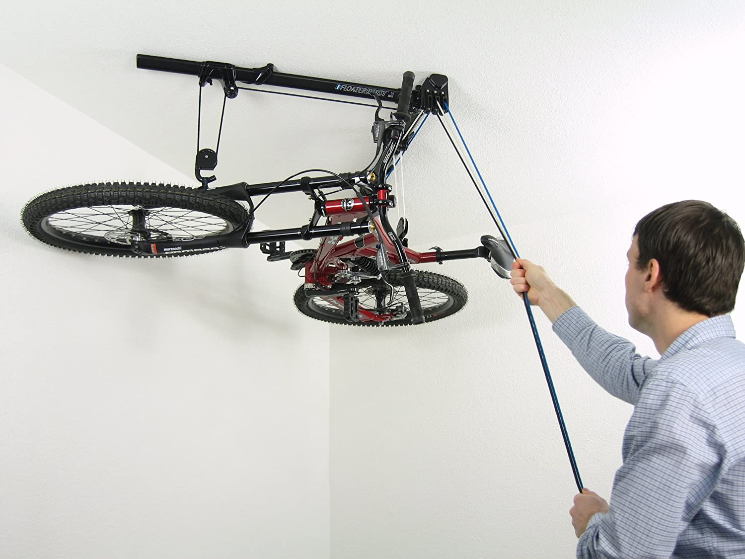 horizontal bike lift hoist garage bicycle storage pulley