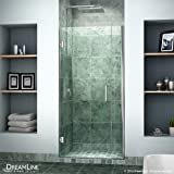 "DreamLine Unidoor 36-37 in. Width, Frameless Hinged Shower Door, 3/8"" Glass, Chrome Finish"