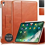 "KAVAJ Case Leather Cover Berlin Works with Apple iPad Pro 12.9"" 2018 Cognac-Brown Genuine Cowhide Leather with Built-in Stand"