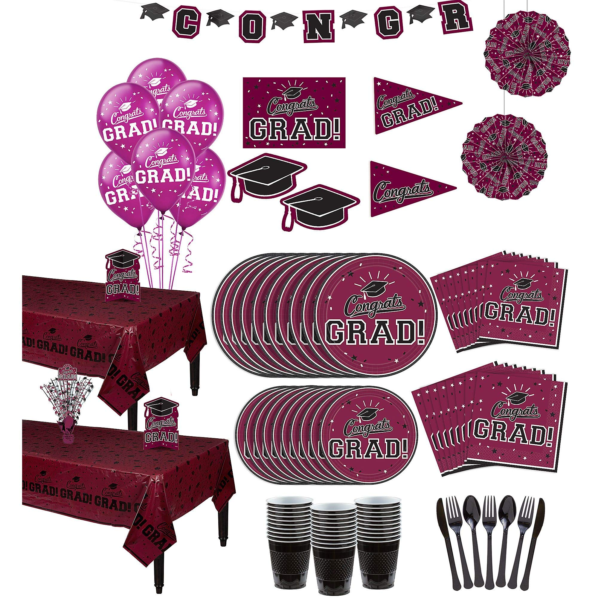 Party City Berry Congrats Grad 2019 Graduation Party Supplies for 36 Guests with Banner, Tableware and Balloons