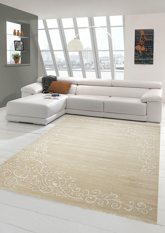 Traum Moderner Teppich Designer Teppich Orientteppich mit Glitzergarn Wohnzimmer Teppich mit Floral Muster Meliert in Beige Creme Größe 160x220 cm