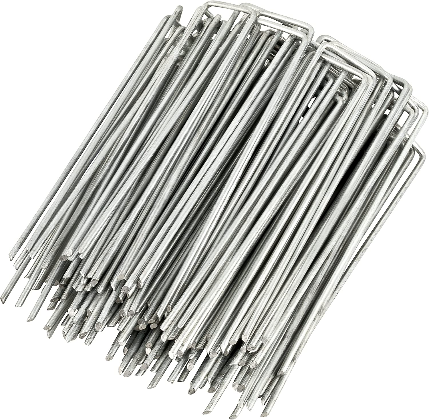 GardenMate 100-Pack Anti-Rust 6'' 11 Gauge Heavy-Duty Flat-Top U-Shaped Garden Securing Stakes/Spikes/Pins/Pegs - Galvanized Sod Staples for Anchoring Landscape Fabric