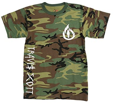 7d0f9c305325 Amazon.com: Travis Scott, La Flame Logo, Camouflage T-Shirt (White Logo):  Clothing