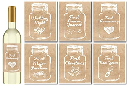 Amazon 6 Rustic Mason Jar Wedding Milestones Wine Bottle
