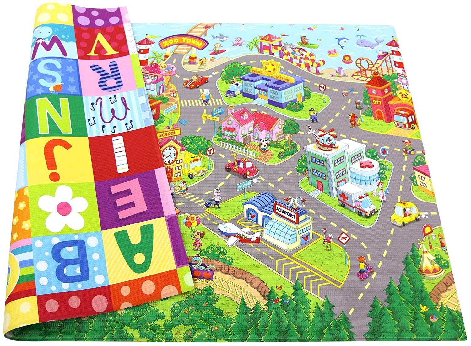 Baby Care Play Mat – Playful Collection Large, Zoo Town – Play Mat for Infants Non-Toxic Baby Rug Cushioned Baby Mat Waterproof Playmat Reversible Double-Sided Kindergarten Mat