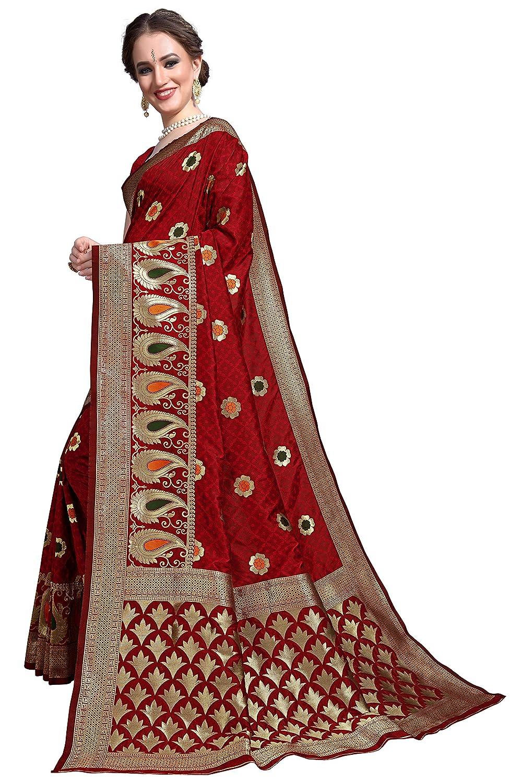 Maroon Color Women's Kanchipuram Silk Blend Saree With Unstitched Blouse Piece