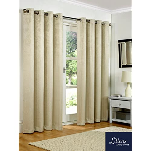"""SW Living 66"""" x 72"""" (168x183cm) Luxury Natural Cream Soft Woven Embossed Thermal Blackout Ring Top Eyelet Heavy Pair Curtains Lined"""