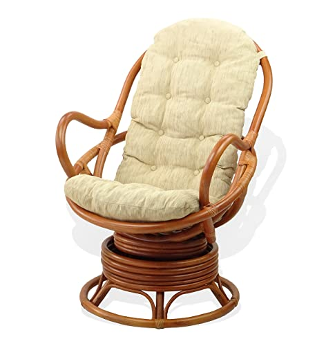 Lounge Swivel Rocking Java Chair Natural Handmade Rattan Wicker with Cream Cushion, Cognac