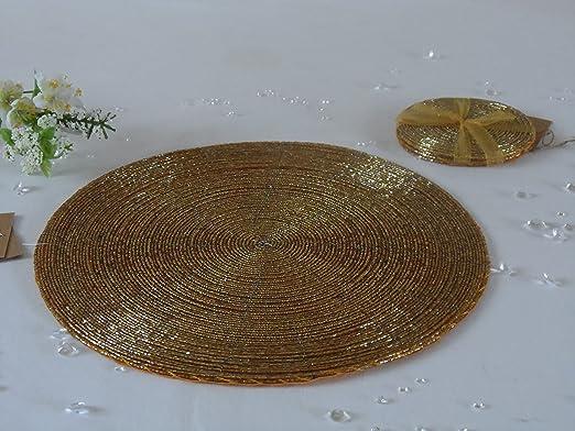 Juego de 4 cristal redondo con cuentas dorado mesa manteles ...