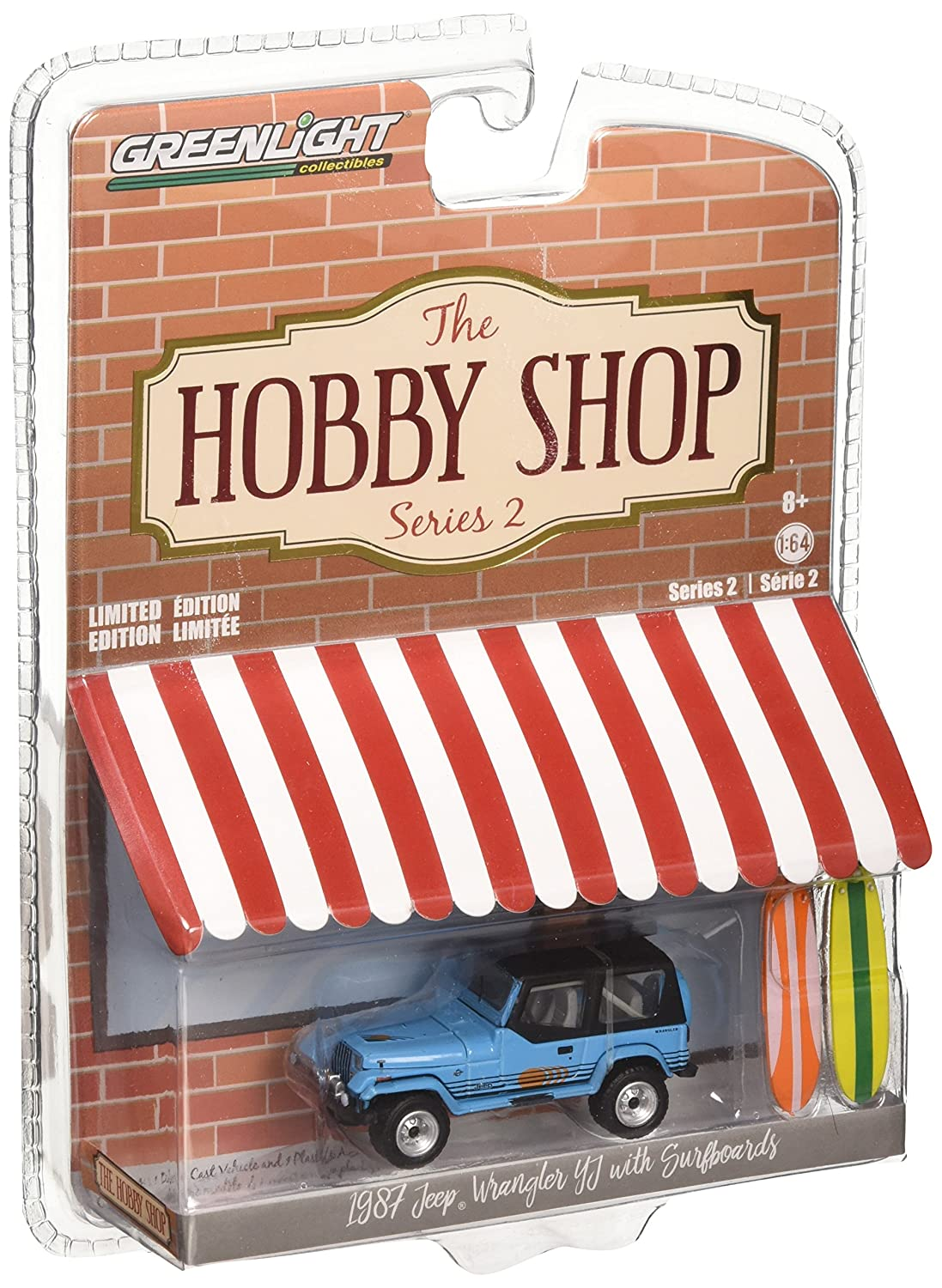 Greenlight 1 64 The Hobby Shop Series 2 1987 Jeep Wrangler YJ with Surfboards