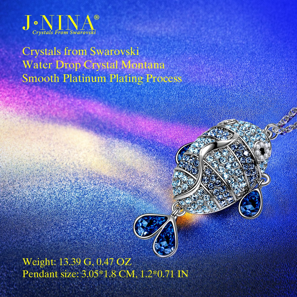 Amazon.com: J.NINA Fish Pendant Necklace Jewelry with Blue Sapphire Swarovski  Crystals for Women Birthday Anniversary Valentines for Wife Lover  Girlfriend ...